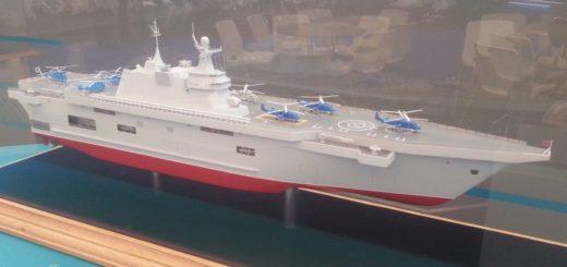 Jeden z dwóch wstępnych projektów śmigłowcowców desantowych, powstały po anulowaniu sprzedaży do Rosji dwóch okrętów typu Mistral przez Francję, w związku z aneksją Krymu i wsparciem dla separatystów w Donbasie. / Zdjęcie: Artiom Tkaczenko