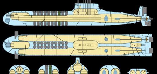 Schemat okrętu podwodnego typu TYPHOON. / Źródło: Mike1979 Russia