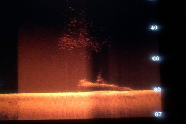 Obraz z sonaru przedstawia kształt sylwetki odnalezionego okrętu podwodnego na dnie oceanu gdzieś w cieśninie Malakka. / Zdjęcie: Jean Luc Rivoire przez APs