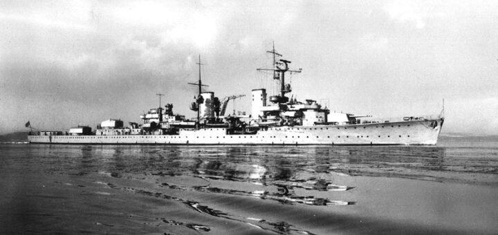 Niemiecki krążownik lekki Königsberg, który śledził polski zespół u wejścia do Sundu. / Zdjęcie: zbiory Andrzej Danilewicz