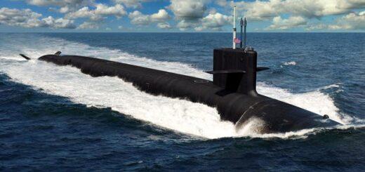 Artystyczna wizja okrętu podwodnego klasy Columbia nosiciela rakiet balistycznych. Okręty te mają zastąpić wysłużone atomowe okręty podwodne klasy Ohio. Budowa nowego okrętu podwodnego USS Columbia ma nastąpić w 2021 roku. / Ilustracja US Navy