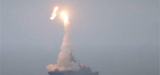 Wystrzelenie rakiety hipersonicznej Tsirkon z pokładu rosyjskiej fregaty Projektu 22350 Gorszkow. / Zdjęcie: Rosyjskie Ministerstwo Obrony Narodowej